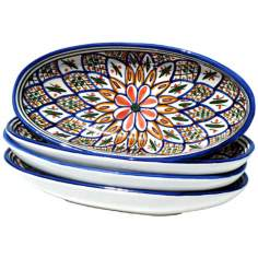 Le Souk Ceramique Set of 4 Tabarka Small Oval Platters