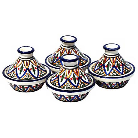 Le Souk Ceramique Set of 4 Tabarka Design Mini Tagines