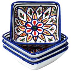 Le Souk Ceramique Set of 4 Tabarka Square Sauce Dishes