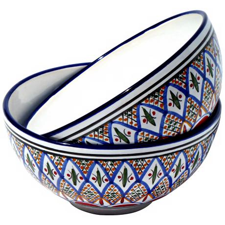 Le Souk Set of 2 Tabarka Design Medium Deep Serve Bowls