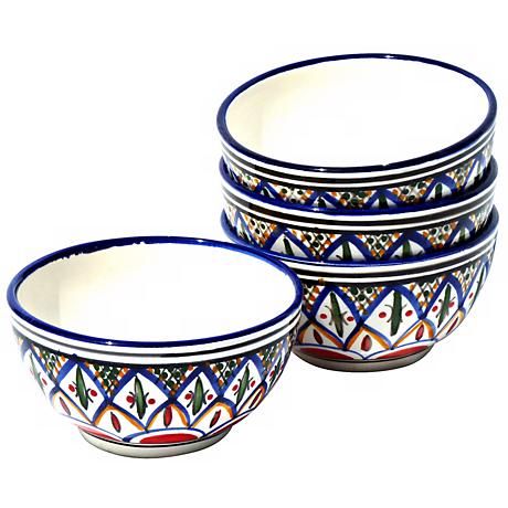 Le Souk Ceramique Set of 4 Tabarka Soup/Cereal Bowls