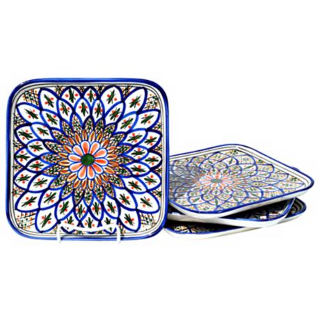 Le Souk Ceramique Tabarka Design Set of 4 Square Plates