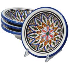 Le Souk Ceramique Set of 4 Tabarka Round Sauce Dishes