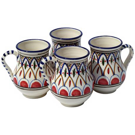 Le Souk Ceramique Set of 4 Tabarka Design Large Mugs