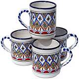Le Souk Ceramique Set of 4 Tabarka Design Coffee Mugs