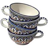 Le Souk Ceramique Set of 4 Tabarka Design Latte/Soup Mugs