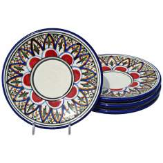 Le Souk Ceramique Set of 4 Tabarka Design Saucers