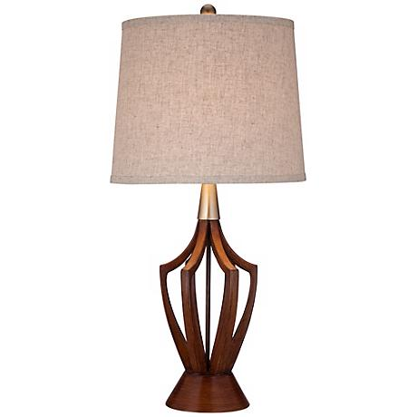 St. Claire Wood Finish Mid-Century Modern Table Lamp