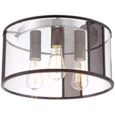 "Senna Bronze Lattice 16"" Wide Glass Ceiling Light"