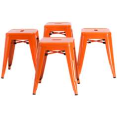Stockwell Set of 4 Orange Iron Chairs