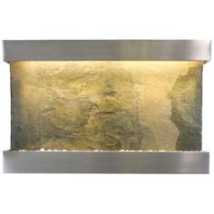 "Classic Quarry 51"" Wide Jera Slate Stainless Wall Fountain"