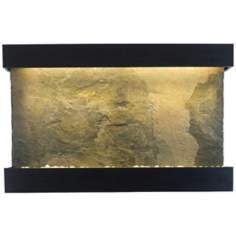 "Classic Quarry 51"" Wide Jera Slate Onyx Black Wall Fountain"