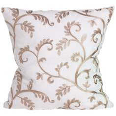 "Margot White and Tan 18"" Square Down Throw Pillow"