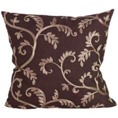 "Margot Chocolate and Tan 18"" Square Down Throw Pillow"
