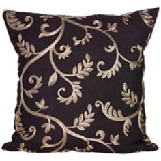 "Margot Black and Gold 18"" Square Down Throw Pillow"