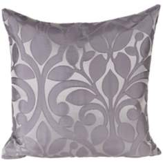 "Lillian Platinum 18"" Square Down Accent Pillow"
