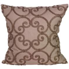 "Leiden Taupe 18"" Square Down Throw Pillow"