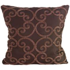 "Leiden Chocolate 18"" Square Down Throw Pillow"