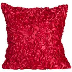 "Duke Fuchsia Ruffles 18"" Square Down Throw Pillow"