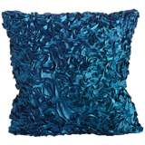 "Duke Turquoise Ruffles 18"" Square Down Throw Pillow"