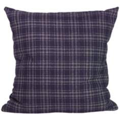 "Gentlemen Plaid Navy 18"" Square Down Throw Pillow"