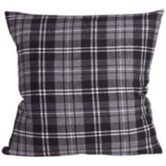 "Gentlemen Check Silver Stone 18"" Square Down Throw Pillow"