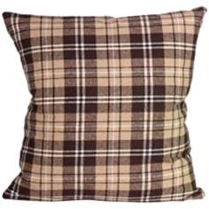 "Gentlemen Check Camel 18"" Square Down Throw Pillow"