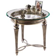 Galloway Brush Pewter Round End Table