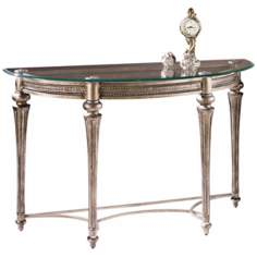Galloway Brushed Pewter Demilune Sofa Table