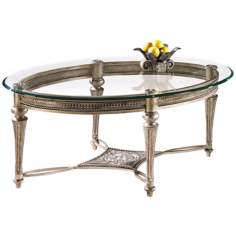 Galloway Brush Pewter Oval Cocktail Table