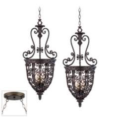 Open Scroll Cage Bronze Double Swag Chandelier