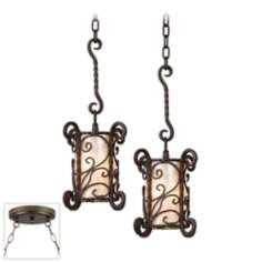 Natural Mica Bronze Double Swag Chandelier