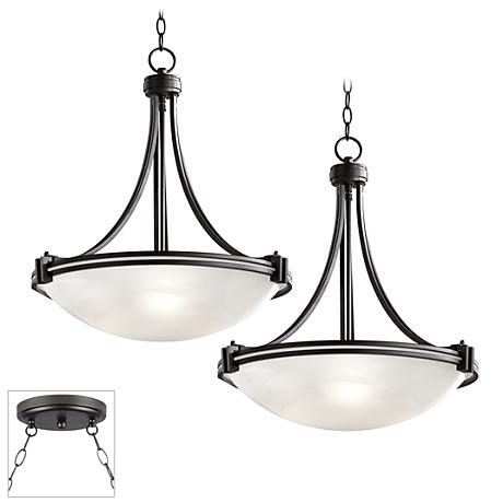 Possini Euro Design Deco Bronze Double Multi Light Pendant
