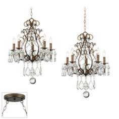 Jolie Crystal Bronze Double Swag Chandelier