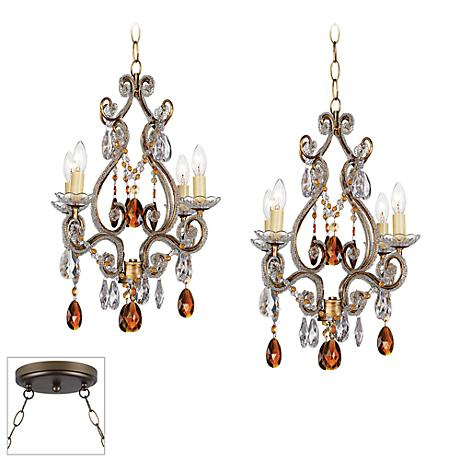 Leila Gold and Bronze Double Multi Light Pendant