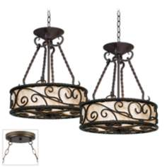 Natural Mica Collection Bronze Double Swag Chandelier
