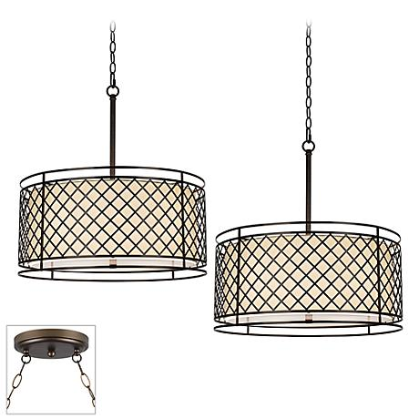 Metal Lattice Bronze Double Multi Light Pendant