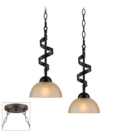 Bronzeador Bronze Double Multi Light Pendant