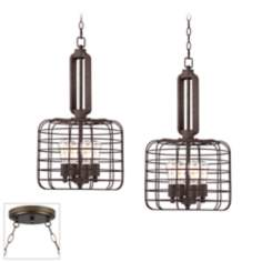 Industrial Style Cage Bronze Double Swag Chandelier