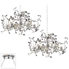 Curly Ribbon Chrome Double Swag Chandelier