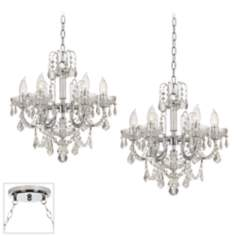 Clear Crystal Chrome Double Swag Chandelier