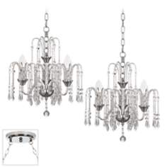 Crystal Rain Chrome Double Swag Chandelier