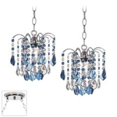 Nicolli Blue Crystal Chrome Double Swag Chandelier