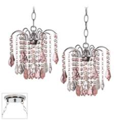 Nicolli Pink Crystal Chrome Double Swag Chandelier