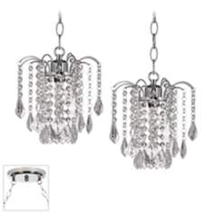 Nicolli Clear Crystal Chrome Double Swag Chandelier