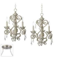 Kathy Ireland Crystal Brushed Steel Double Swag Chandelier