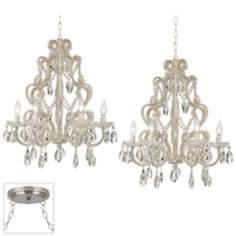 Felician Brushed Steel Double Swag Chandelier