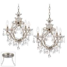 Eyja Crystal Brushed Steel Double Swag Chandelier