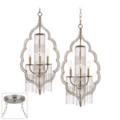 Scalloped Teardrop Brushed Steel Double Swag Chandelier