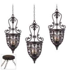 Open Scroll Cage Bronze Triple Swag Chandelier